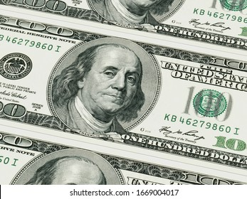 Extremely close of a hundred dollar banknote. 3d rendering - illustration.