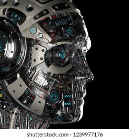 Extremely detailed futuristic robot or cyborg head in profile. Isolated on black background. 3D Render.