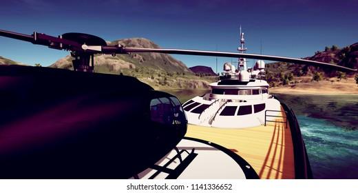 Extremely detailed and realistc high resolution 3D illustration of a luxury Super Yacht at a tropcial Island