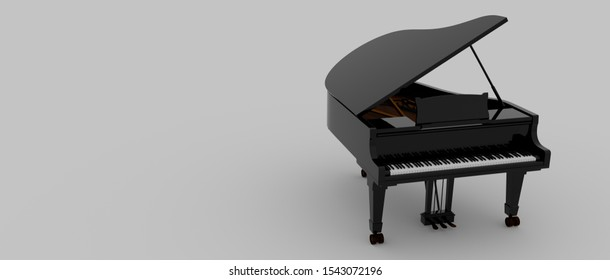 Extremely detailed and realistic 3d image of a Piano.