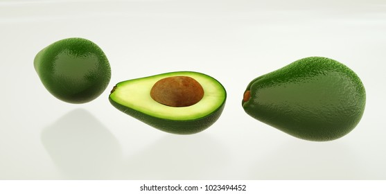 Extremely detailed and realistic high resolution 3D image of an avocado fruit.