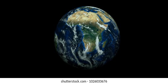 Extremely detailed and realistic high resolution 3D image of planet earth. Shot from space. Elements of this image have been furnished by Nasa.