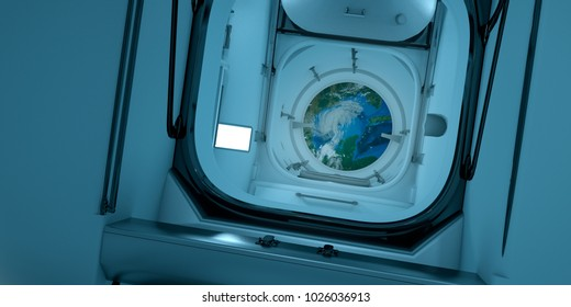 Extremely detailed and realistic high resolution 3D image of the interior of International Space Station ISS. Elements of this image have been furnished by Nasa.