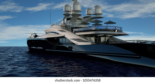 Extremely detailed and realistic high resolution 3D image of a luxury super yacht.