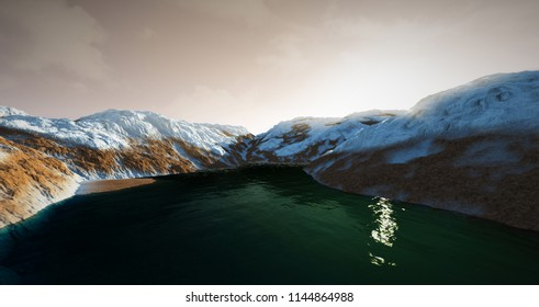Extremely detailed and realistic high resolution 3D illustration of Water On Mars like Planet