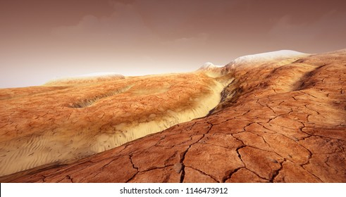 Extremely detailed and realistic high resolution 3d illustration of a Mars like landscape