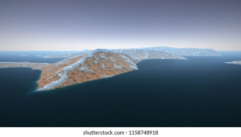 Extremely detailed and realistic high resolution 3d illustration of a Mars like Planet with Water