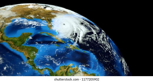 Extremely detailed and realistic high resolution 3D illustration of Hurricane Florence approaching the US East Coast. Shot from Space. Elements of this image are furnished by Nasa.