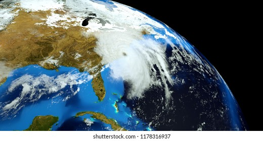 Extremely detailed and realistic high resolution 3D render of Hurricane Florence hitting the US East Coast. Shot from Space. Elements of this image are furnished by Nasa.