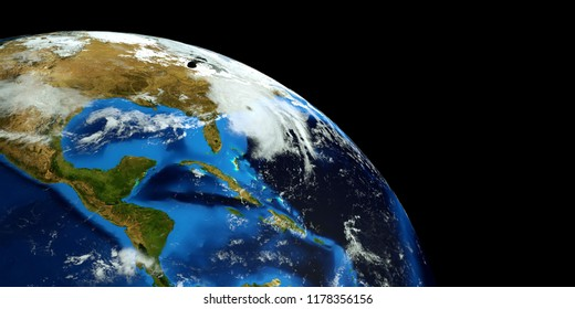 Extremely detailed and realistic high resolution 3D render of a Hurricane hitting North Carolina. Shot from Space. Elements of this image are furnished by Nasa.