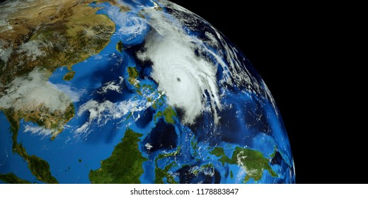 Extremely detailed and realistic high resolution 3d render of Typhoon Mangkhut approaching the Philippines. Shot from Space. Elements of this image are furnished by Nasa.
