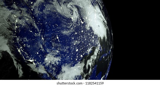 Extremely detailed and realistic high resolution 3D image of a Hurricane at Night hitting the US East Coast. Shot from Space. Elements of this image are furnished by Nasa.