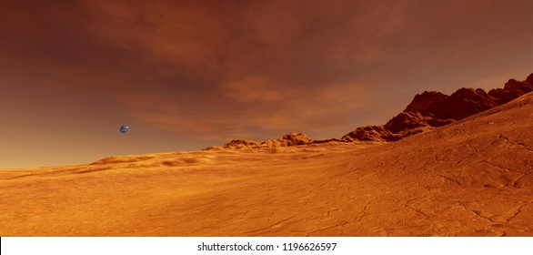 Extremely detailed and realistic high resolution 3d image of Mars like planet