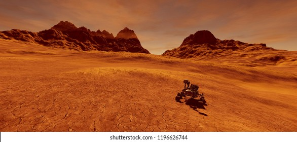 Extremely detailed and realistic high resolution 3d image of Mars exploration vehicle curiosity searching for life on martian landscape. Elements of this image are furnished by Nasa.