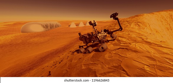 Extremely detailed and realistic high resolution 3D image of Mars Exploration Vehicle Curiosity on Mars like planet. Elements of this image are furnished by Nasa.