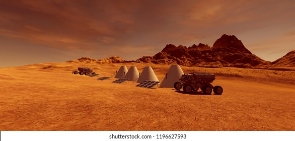 Extremely detailed and realistic high resolution 3d image of Astronauts on Mars