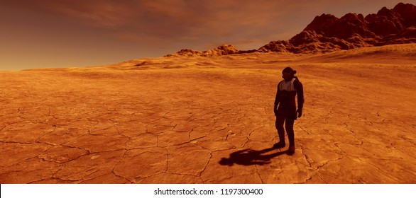 Extremely detailed and realistic high resolution 3d image of a human on a mars like planet