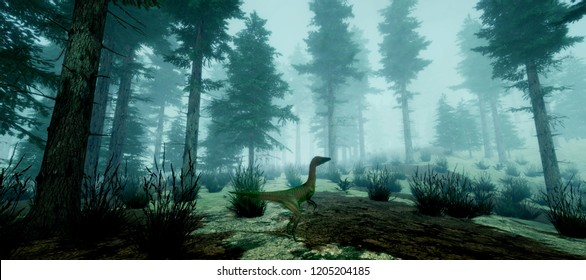 Extremely detailed and realistic high resolution 3d image of a Compsognathus Dinosaur in the forest.