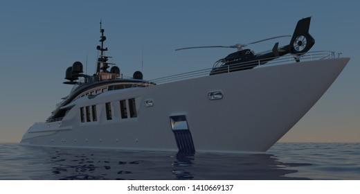 Extremely detailed and realistic high resolution 3D illustration of a Super Yacht  - Illustration