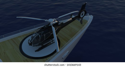 Extremely detailed and realistic high resolution 3D illustrationof a Helicopter on a luxury super yacht