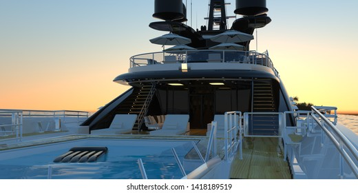 Extremely detailed and realistic high resolution photorealistic 3d image of a luxury super Yacht