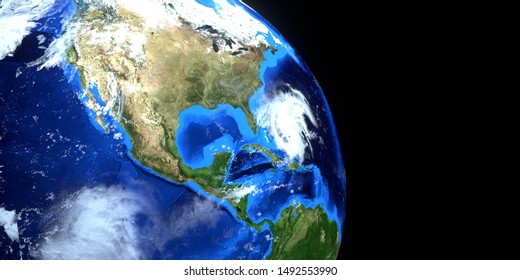 Extremely detailed and realistic high resolution 3d imageof Hurricane Dorian approaching the US east coast. Shot from Space. Elements of this image are furnished by NASA.