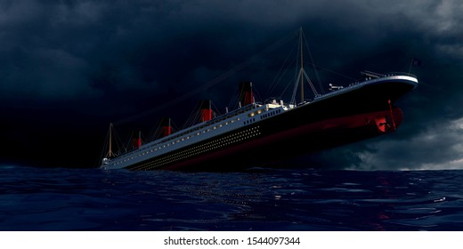 Extremely detailed and realistic high resolution 3d image of the old passenger ship Titanic