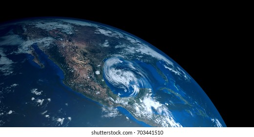 Extremely detailed and realistic high resolution 3D illustration of a Hurricane approaching Texas. Shot from Space. Elements of this image are furnished by Nasa.
