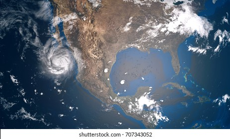 Extremely detailed and realistic high resolution 3d illustration of a hurricane approaching Baja California. Shot from space. Elements of this image are furnished by Nasa.