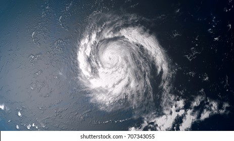 Extremely detailed and realistic high resolution 3d illustration of a hurricane in the middle of the atlantic ocean approaching the USA. Shot from space. Elements of this image are furnished by Nasa.