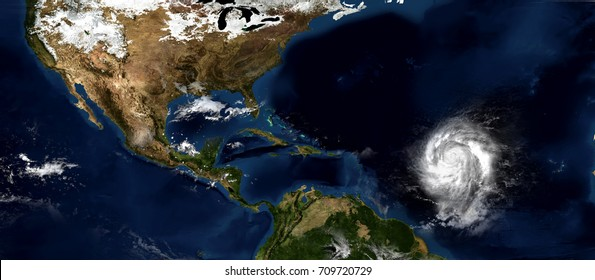 Extremely detailed and realistic high resolution 3D illustration of a hurricane approaching the eastern Carribbean islands. Shot from space. Elements of this image are furnished by Nasa.