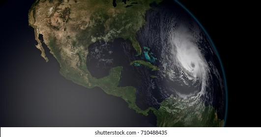 Extremely detailed and realistic high resolution 3d illustration of a hurricane approaching the Caribbean Islands. Shot from Space. Elements of this image are furnished by Nasa.