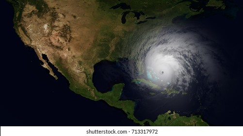 Extremely detailed and realistic high resolution illustration of a hurricane slamming into Florida. Shot from space. Elements of this image are furnished by Nasa.
