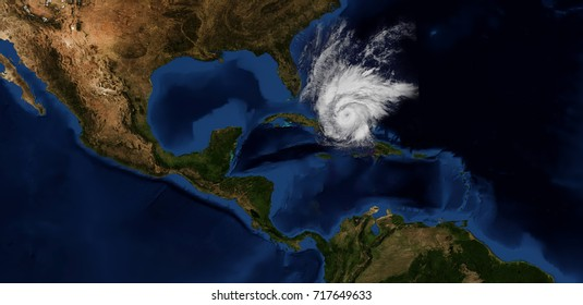Extremely detailed and realistic high resolution image of Hurricane Maria approaching the caribbean islands and Florida. Shot from Space. Elements of this image have been furnished by Nasa.