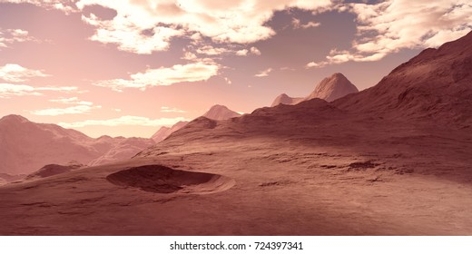 Extremely detailed and realistic high resolution 3d illustration of a landscape on a planet like Mars.