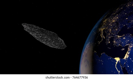Extremely detailed and realistic high resolution 3d illustration of an interstellar asteroid