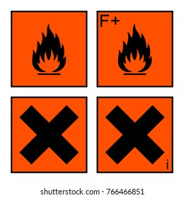 extremely flammable and harmful sign or symbol on orange rectangle. extremely flammable, harmful and irritant labels. isolated on white background
