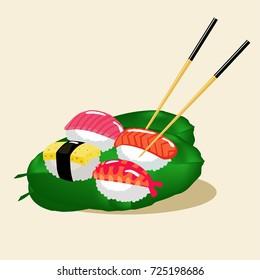 Extremely fresh suchi meals : the delicious traditional Japanese foods,try to taste them