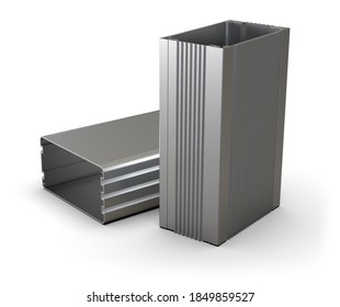 Extruded aluminum enclosures isolated on white. 3d rendering