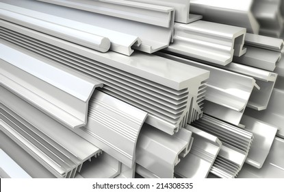 Extruded Plastic Profiles. Industrial 3d illustration