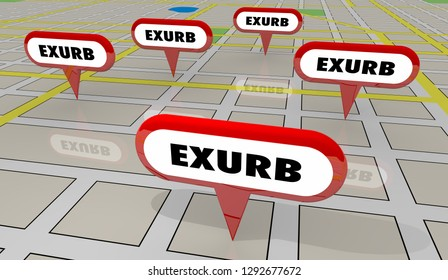 Exurbs Rural Suburban Communities Map Pins 3d Illustration