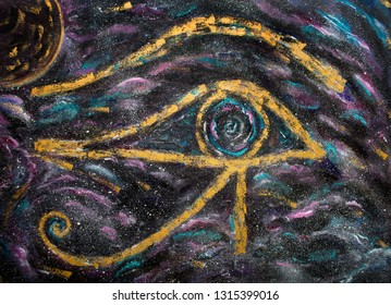 Eye of Amon Ra Outer Space, Painting oil on canvas