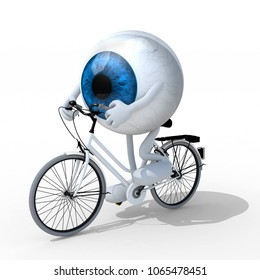 eye with arms and legs riding a bycicle, 3d illustration