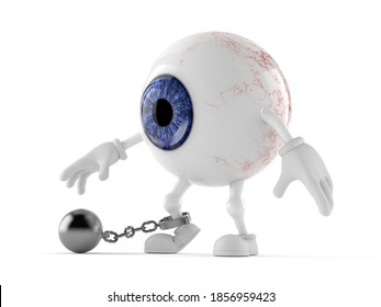Eye ball character with prison ball isolated on white background. 3d illustration