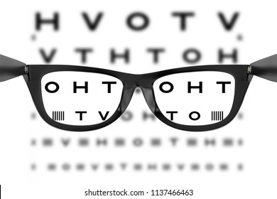 Eye Chart or Sight Test Seen Through Eye Glasses on a white background. 3d Rendering