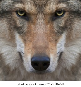 Eye contact with severe wolf. Menacing expression and awful charm of the wolf, beautiful animal and dangerous beast. Amazing image in oil painting style. Great for user pic, icon, label or tattoo.