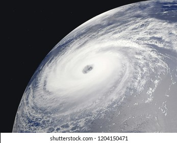 Eye of the cyclone seen from the satellite, 3D image, 3D rendering