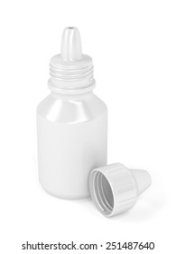 Eye drops bottle on white background
