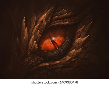 Eye of fantasy dragon. Digital painting.