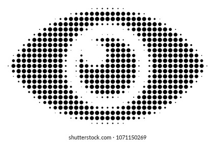 Eye halftone raster icon. Illustration style is dotted iconic Eye icon symbol on a white background. Halftone texture is circle items.